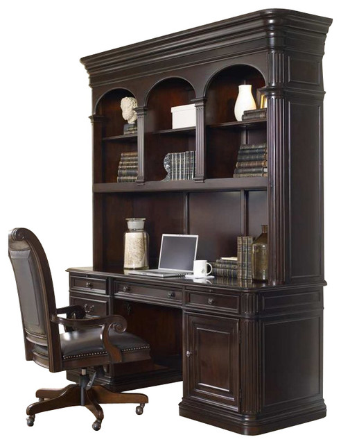 Colonnade Computer Credenza With Hutch, Ebony transitional-desks-and ...