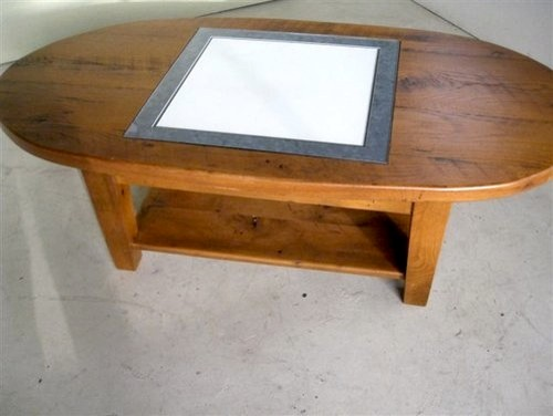 Oval coffee table with game board inlay farmhouse for Oval farmhouse coffee table
