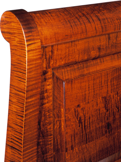Curly Maple Sleigh Bed Bedroom Furniture - Solid Wood Furniture - Hand Crafted headboards