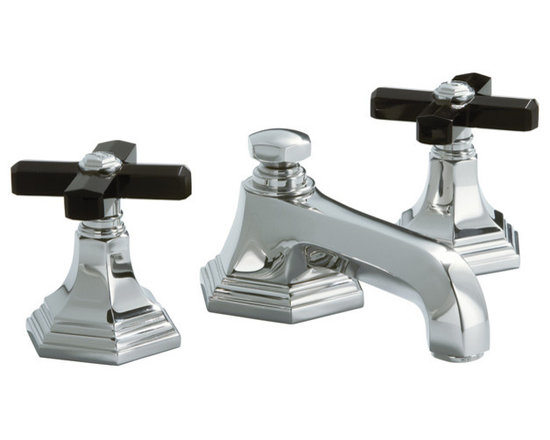 For Town by Michael S Smith Basin Faucet Set, Black Obsidian Cross Handles -
