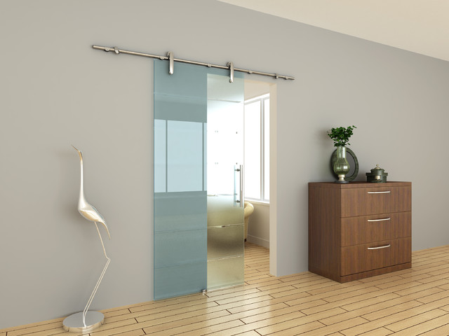 Modern barn door hardware for glass door contemporary for Porte coulissante salle de bain verre