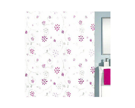 Bijou Luxury Fabric Shower Curtain from Vita Futura - Our Bijou shower curtain is a luxury shower curtain with a retro flower design of bright deep pink, lavender and deep berry purple flowers with grey vines, flowers and leaves.  Designed and produced in Germany. Much like the quick dry shower curtains you will find in many spas and luxury hotels, no shower curtain liner is necessary.  Quick-dry and easy-care fabric, durable and long wearing.