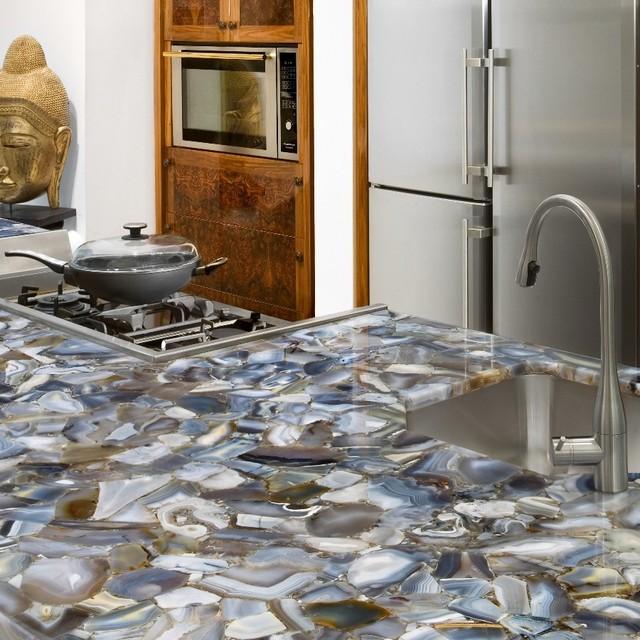grey agate countertop semi precious eclectic miami