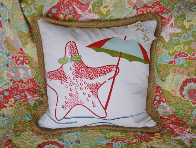 Starfish Accent Pillow ~ Coastal Bedding tropical-bed-pillows