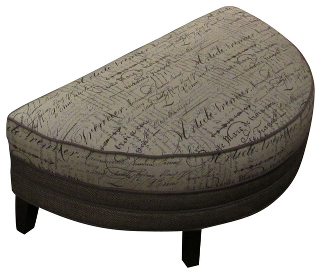Chelsea Home Corrina Half Moon Ottoman in Trousseau Wolf - Font Linen - Traditional - Footstools ...