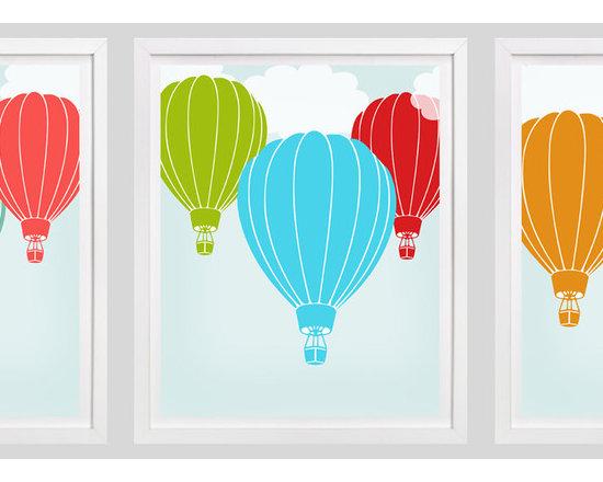 Nursery Art, Childrens Art - Set of 3 Hot Air Balloon prints. Perfect in a hot air balloon themesd nursery or bedroom.