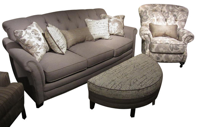 Chelsea Home 3 Piece Living Room Set In Lindy Chinchilla With Accent Pillows Traditional
