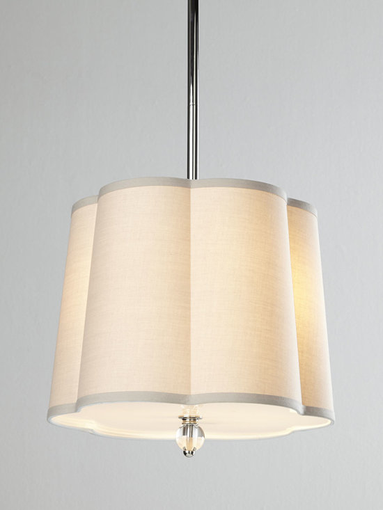 Lighting - Who knew simplicity could be so elegant. With its gently scalloped shade and soft, silvery finish, this pendant light is just that—simple yet elegant.
