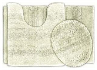 "Bath Mat: Essence Ivory 21"" x 34"" Bathroom 3-Piece Rug Set contemporary-bath-mats"