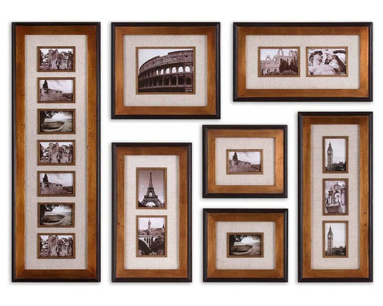 "Uttermost Newark Set of 7 Hanging Photo Collage - Uttermost Newark Set of 7 Hanging Photo Collage is finished with a heavily antiqued gold with black outer liner and ivory linen matting. Dimensions: 65.3"" High, 47.25"" Wide."