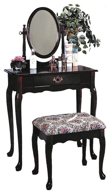 Queen Anne Style Vanity Set Bathroom Makeup Table Stool Swivel Mirror, Dark Cher traditional-bedroom-and-makeup-vanities