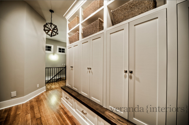 Mud Room with built-in lockers contemporary entry