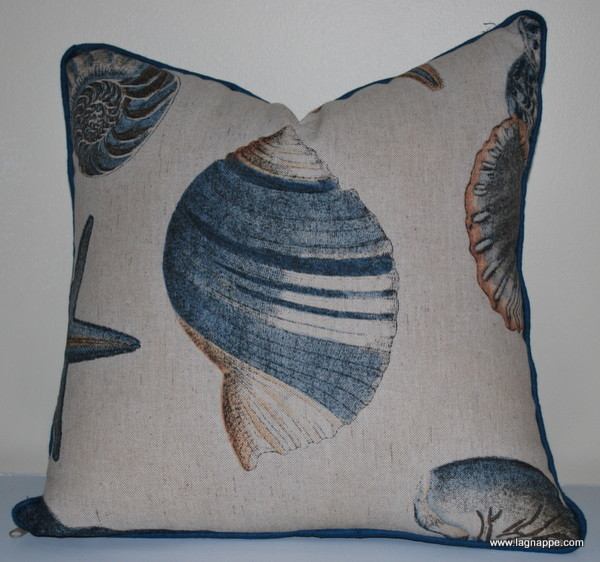 Blue coral throw pillow - Tropical - Decorative Pillows - other metro - by Lagnappe Custom Interiors