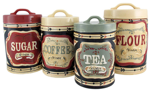 4 piece country store kitchen ceramic canister set