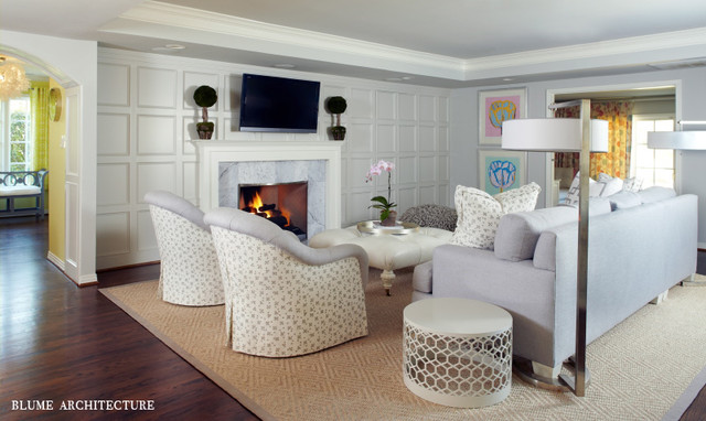 White Shaker Style Paneling In Family Room With Carrara
