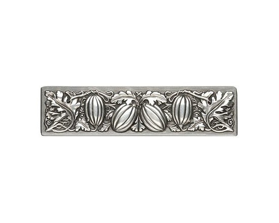 """Inviting Home - Autumn Squash Pull (antique pewter) - Hand-cast Autumn Squash Pull in antique pewter finish; 4-7/8""""W x 1-1/4""""H; Product Specification: Made in the USA. Fine-art foundry hand-pours and hand finished hardware knobs and pulls using Old World methods. Lifetime guaranteed against flaws in craftsmanship. Exceptional clarity of details and depth of relief. All knobs and pulls are hand cast from solid fine pewter or solid bronze. The term antique refers to special methods of treating metal so there is contrast between relief and recessed areas. Knobs and Pulls are lacquered to protect the finish."""