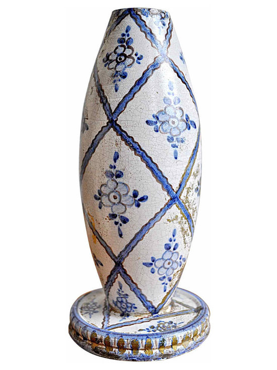 Murano Ceramic Lamp Base - Hand painted in the famed Murano, Italy by the Guerrieri brothers between 1930-1964, this glazed pottery unwired lamp base would add Italian retro charm to any table top.