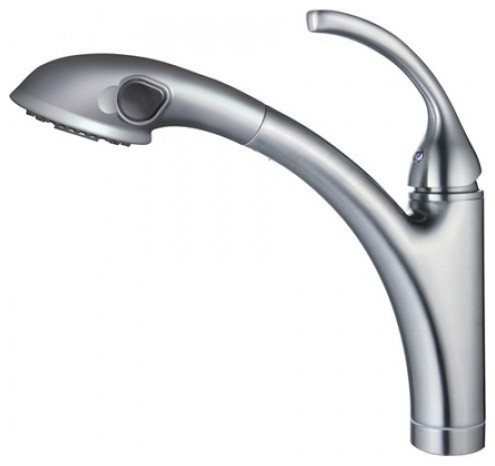 Single Handle Pull-Out Kitchen Faucet with Pull-Out Spout Sprayer contemporary-kitchen-faucets