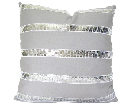 Therese Marie Designs - Gray Linen Pillow with Sequin Trim - Gray linen pillow with silver sequin ribbon. Silver sequin ribbon is sewn in orderly stripes to the gray linen front of this pillow. An unexpectedly successful marriage of textures and colors. *For 16-inch square insert.