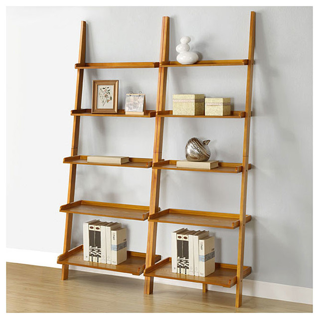 Oak five tier 2 piece leaning ladder shelf set contemporary wall