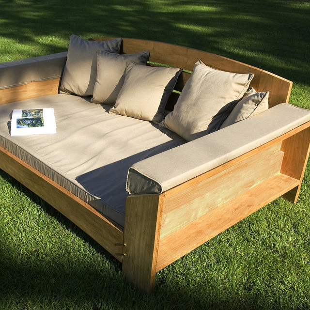 Arcut Outdoor Teak Outdoor Daybed with Cushions Patio