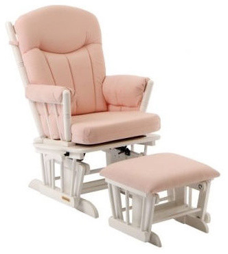 Glider And Ottoman Set In Pink Gingham And White