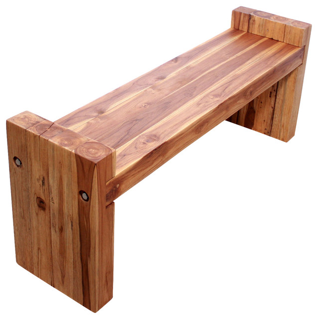 Farmed Teak Block Bench 48 x 12 x 19 inch Ht Seat = 16 KD w Eco Friendly Oak Oil tropical-benches