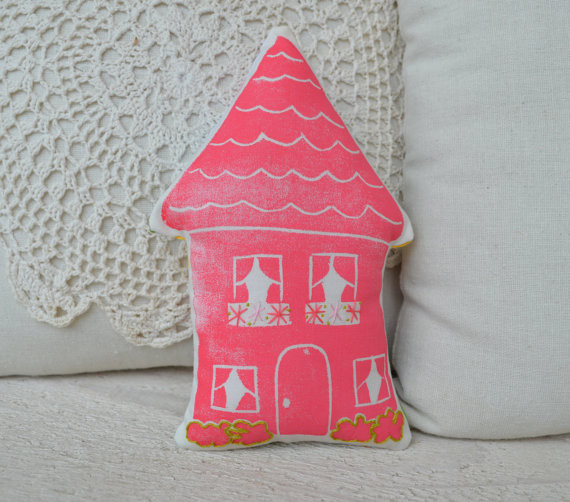 Pink House Pillow Number 16, Medium by Two Stars eclectic-decorative-pillows