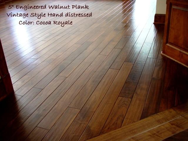 Hand scraped prefinished custom walnut plank traditional for Pre finished hardwood flooring