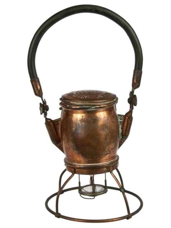 Electric Lantern - Vintage 1920's Genesy copper railroad lantern by the Electric Lantern Company in Kansas City, MO.