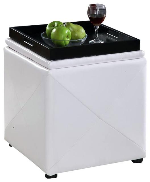 Modus Upholstered Milano Blanket Storage Bench White: Modus Upholstered Milano Storage Cube Ottoman In White