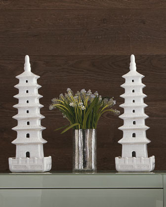 White Ceramic Pagoda traditional-garden-statues-and-yard-art