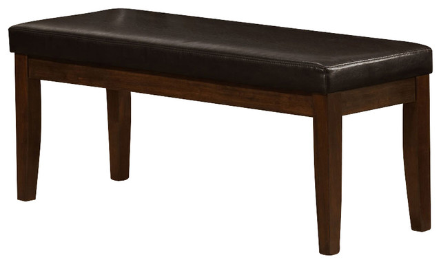 Monarch Specialties I 1938 Brown Leather-Look 45 Inch Bench - Contemporary - Indoor Benches - by ...