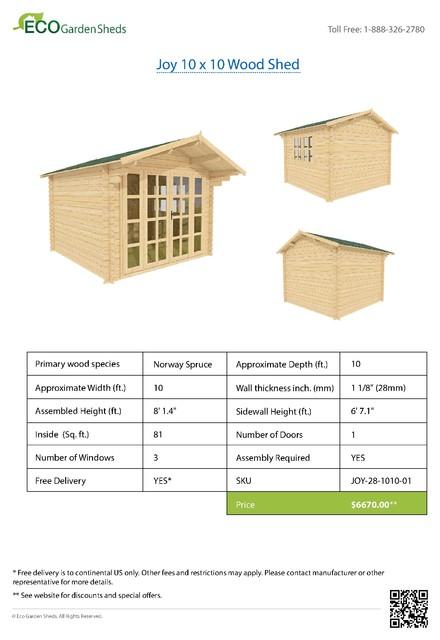 Joy 10 x 10 Wood Shed / Guest Cottage tropical-sheds
