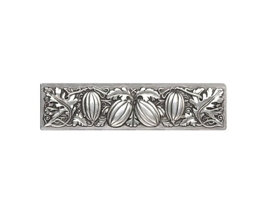 """Inviting Home - Autumn Squash Pull (brilliant pewter) - Hand-cast Autumn Squash Pull in brilliant pewter finish; 4-7/8""""W x 1-1/4""""H; Product Specification: Made in the USA. Fine-art foundry hand-pours and hand finished hardware knobs and pulls using Old World methods. Lifetime guaranteed against flaws in craftsmanship. Exceptional clarity of details and depth of relief. All knobs and pulls are hand cast from solid fine pewter or solid bronze. The term antique refers to special methods of treating metal so there is contrast between relief and recessed areas. Knobs and Pulls are lacquered to protect the finish."""