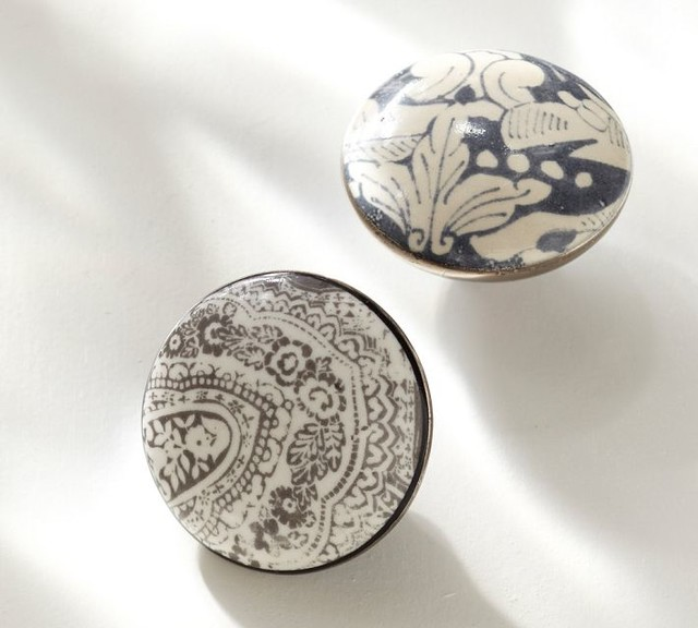 Printed Ceramic Knobs - Contemporary - Cabinet And Drawer Knobs - by Pottery Barn