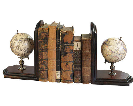"""Inviting Home - Globe Bookends - mookends with matching celestial and terrestrial globe 5-1/8""""x 9-3/4""""x 14-3/8""""H As a scientific symbol our globe bookends add a touch of distinction to home and office. Matching celestial and terrestrial globes dating back to the 16th C. Bookends have bronze mountings and antique French finished stands."""