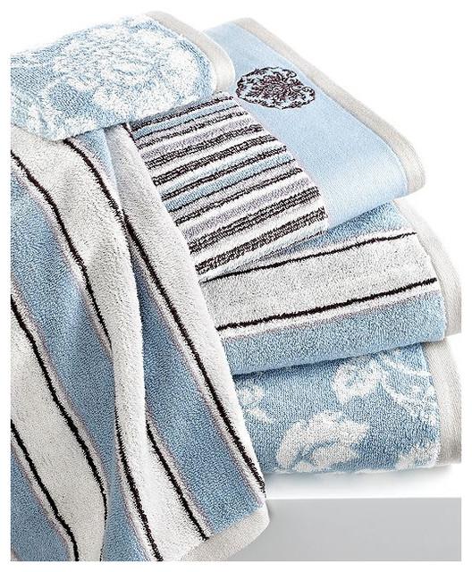 Houzz guest bathrooms - Bianca Bath Towels Aquarelle Blue Collection Beach Style Bath