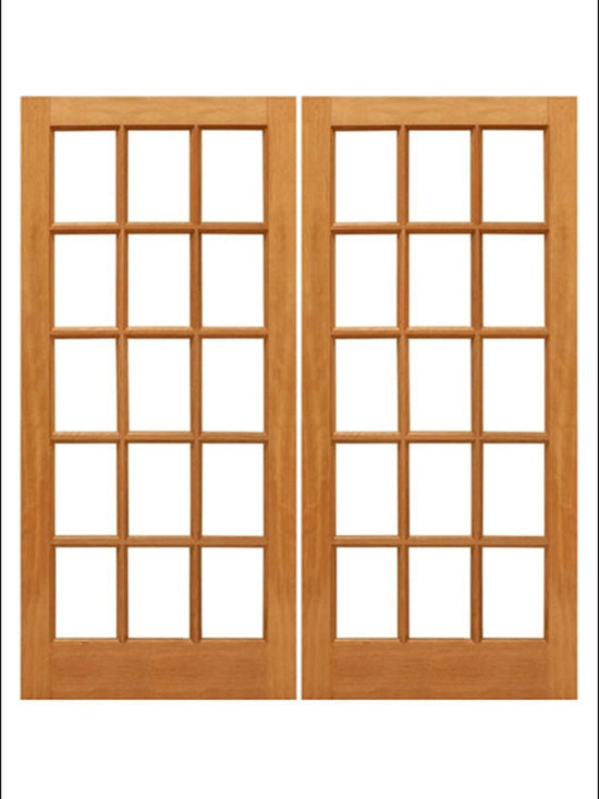 AAW Inc. - French Doors Model # Mahogany 15 Lite - Traditional Styled French doors in Mahogany.  These doors are stainable and paintable and come in multiple sizes in options with including Low-E Glass.  These doors is considered an interior door because it is a singel pane glass.