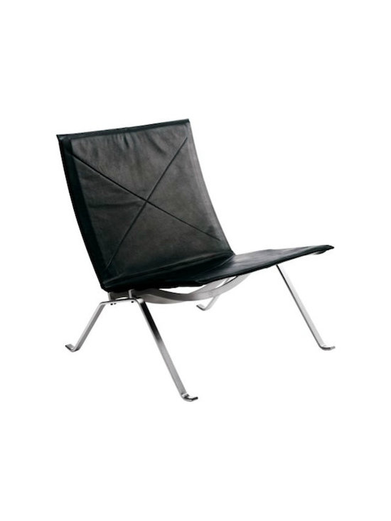 PK22 Easy Chair, Classic Leather - Unlike most leather chairs I see, there is a lightness in the PK22 Chair that really balances out the masculine black leather and steel materials. These chairs don't necessarily need to go hand in hand with glass dining tables and chrome accessories.