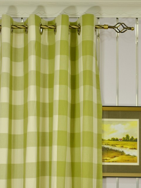 Green Grommet Curtains - Rooms