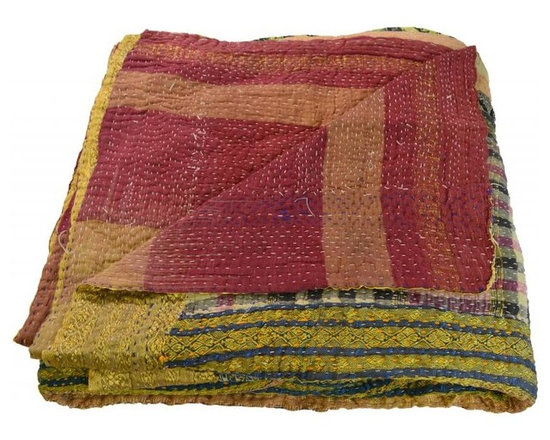 Modelli Creations - Vintage Reversible Kantha Throw In Red With Zari Border - Vintage Reversible Kantha throw in Red with zari border