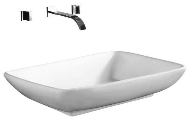Rectangular White Ceramic Vessel Bathroom Sink, No Hole - Contemporary ...