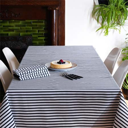 Sailor Charcoal Tablecloth modern table linens