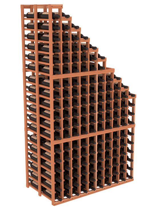 Double Deep Wine Cellar Waterfall Display Kit in Redwood - The same beautiful cascading waterfall but in a double deep capacity. Displays 18 choice vintages in a tiered fashion. Designed within our modular specifications and to Wine Racks America's superior product standards, you'll be satisfied. We guarantee it.