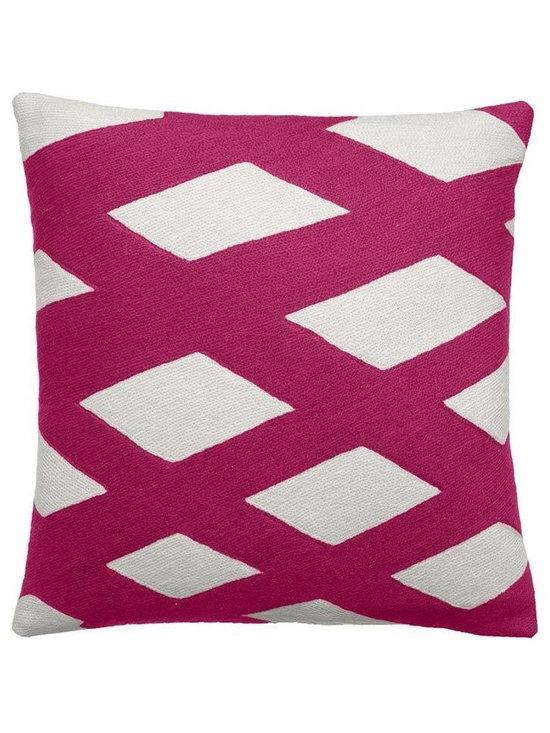 Plaid Cerise Cream Pillow -
