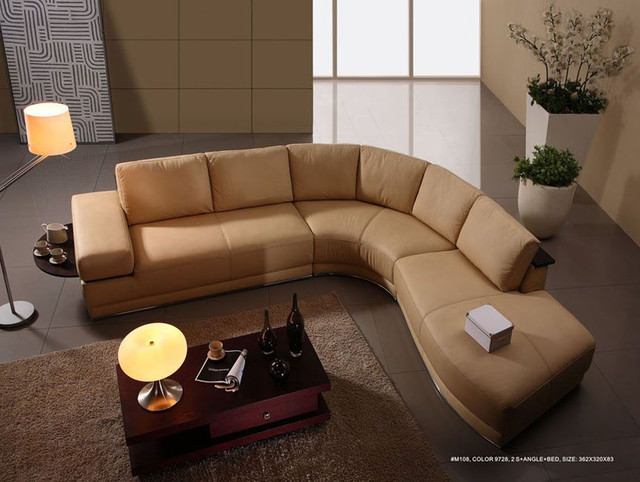 High End Italian Leather Living Room Furniture Modern Sectional Sofas M