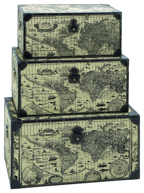 Benzara - Travel Steamer Trunk Set With Ancient World Map - For anyone wanting to travel, their journey should never begin without a large set of steamer trunks. These are perfectly suited hold all the spoils of your adventure, and rugged enough to travel the world many times over. Printed with an ancient world map from 17th century Europe. When not in use they make for stunning piece of home decor too.