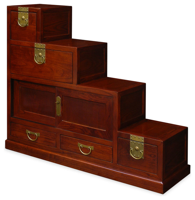 Elmwood Japanese Style Step Tansu - Asian - Storage And Organization - by China Furniture and Arts