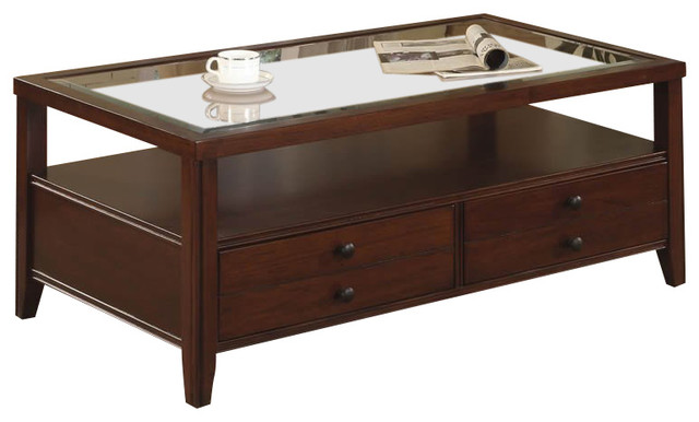 Riverside Furniture Avenue Drawer Cocktail Table In Dark Cherry Transitional Coffee Tables